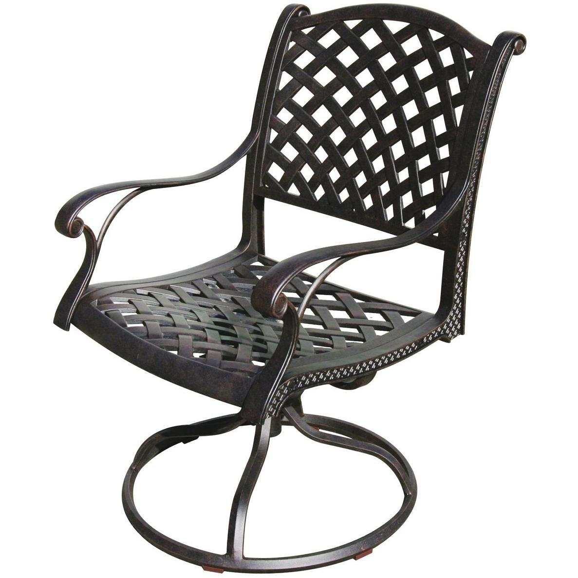 Darlee Nassau Cast Aluminum Outdoor Patio Swivel Rocker Chair With Cushion - Antique Bronze