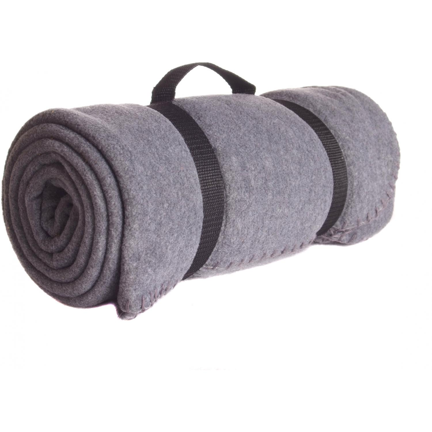 Picture of Port & Company Value Fleece Blanket With Strap - Midnight Heather