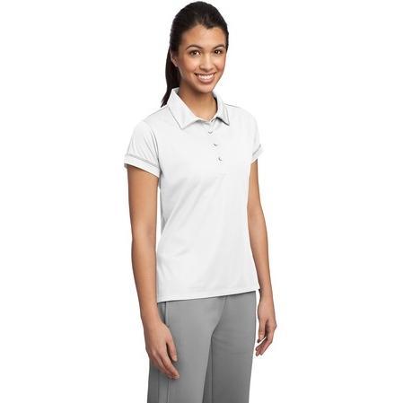 Sport-Tek Ladies Contrast Stitch Micropique Sport-Wick Polo Shirt Medium - White