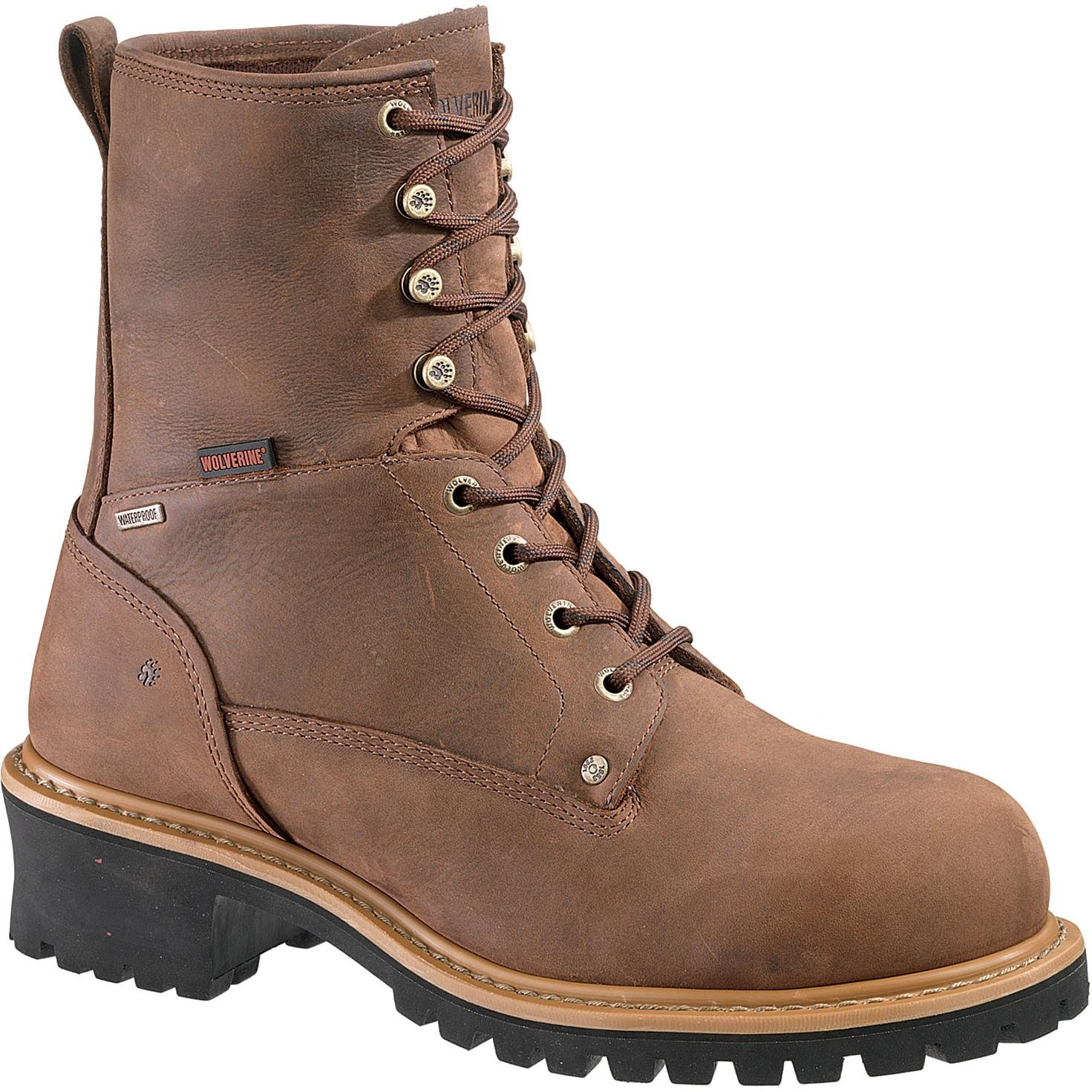Wolverine Mens Snyder 8 Inch 400 Gram Thinsulate Insulated Waterproof EH Logger Steel Toe Work Boots - Brown - Size 7 - Medium