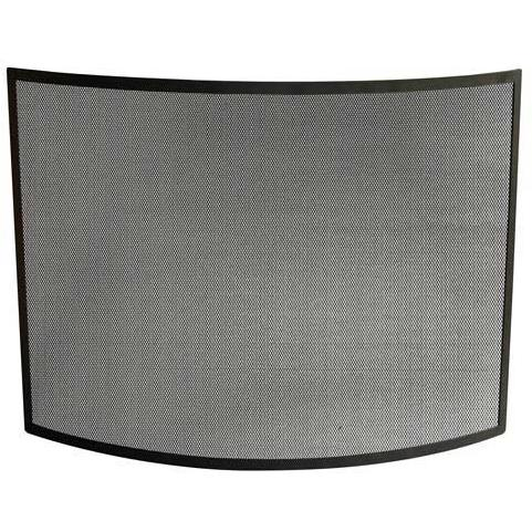 UniFlame 41 Inch Black Wrought Iron Single Panel Bowed Fireplace Screen
