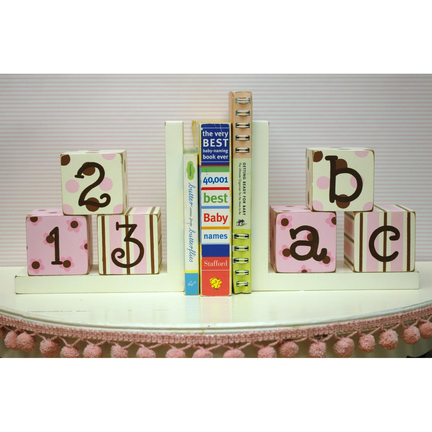 New Arrivals Wooden ABC Block Bookends - Pink/Chocolate