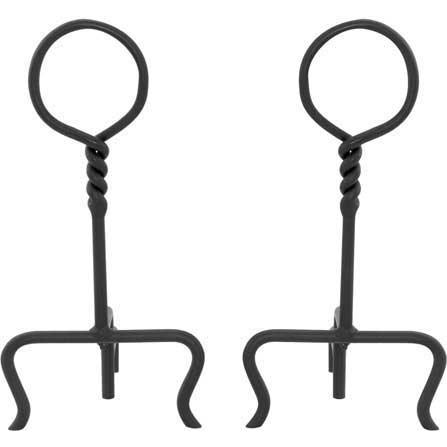 UniFlame 17 Inch Black Wrought Iron Ring/Swirl Andirons