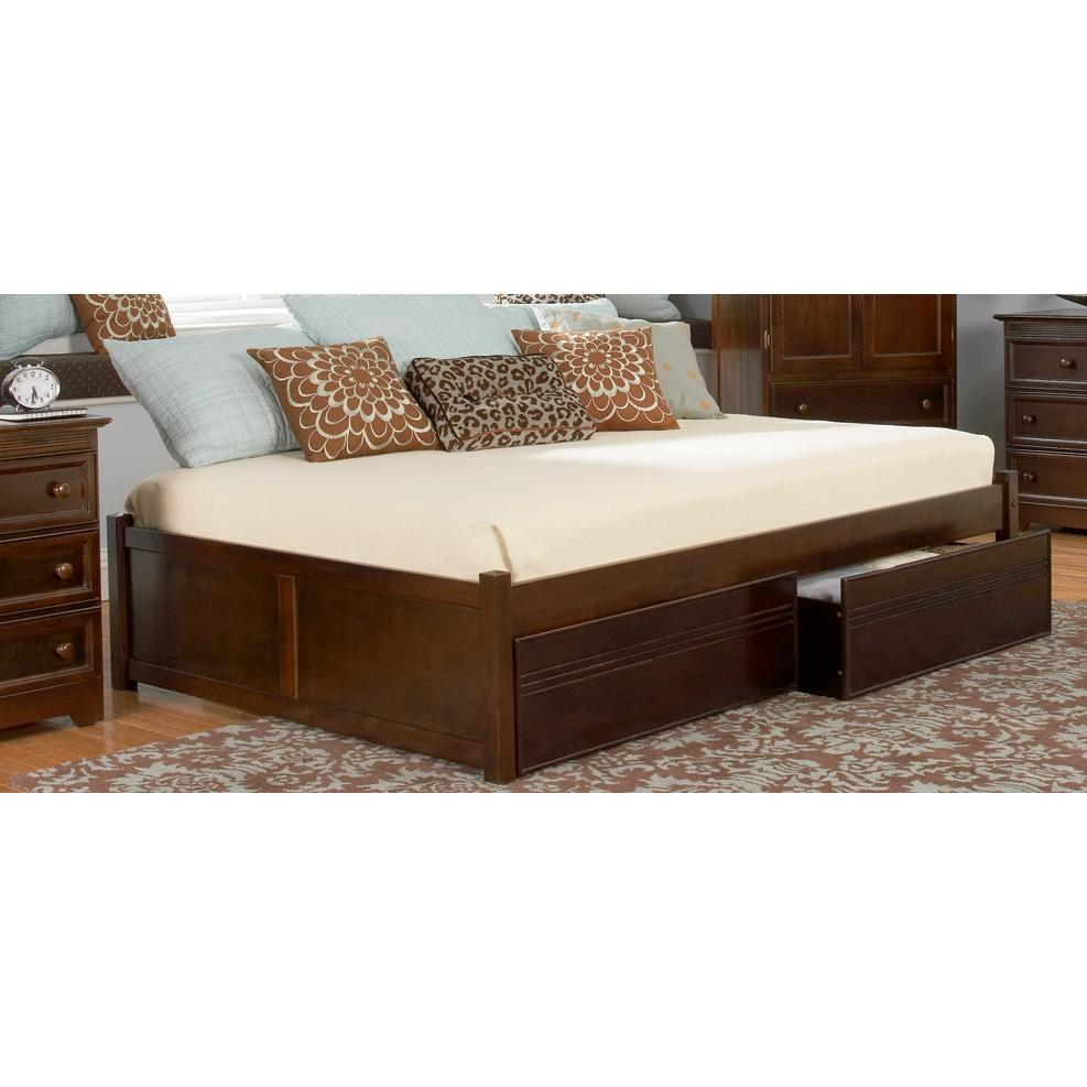 Atlantic Furniture 1002420 Concord Twin Bed Raised Panel Footboard Style Antique Walnut