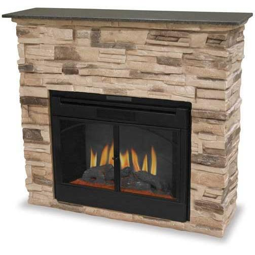 UniFlame Indoor Electric Fireplace With Faux Stone Surround