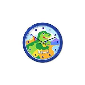 Olive Kids Personalized Wall Clock - Dinosaurland Blue Frame