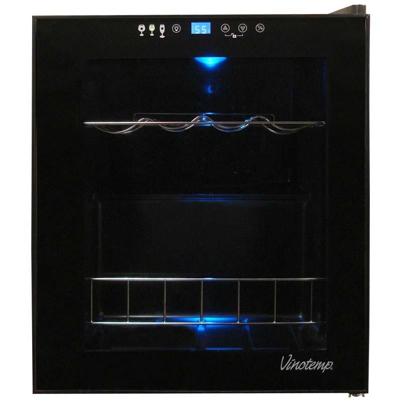 Vinotemp VT-15 TS 15 Bottle Touch Screen Wine Cooler - Glass Door / Black Trim