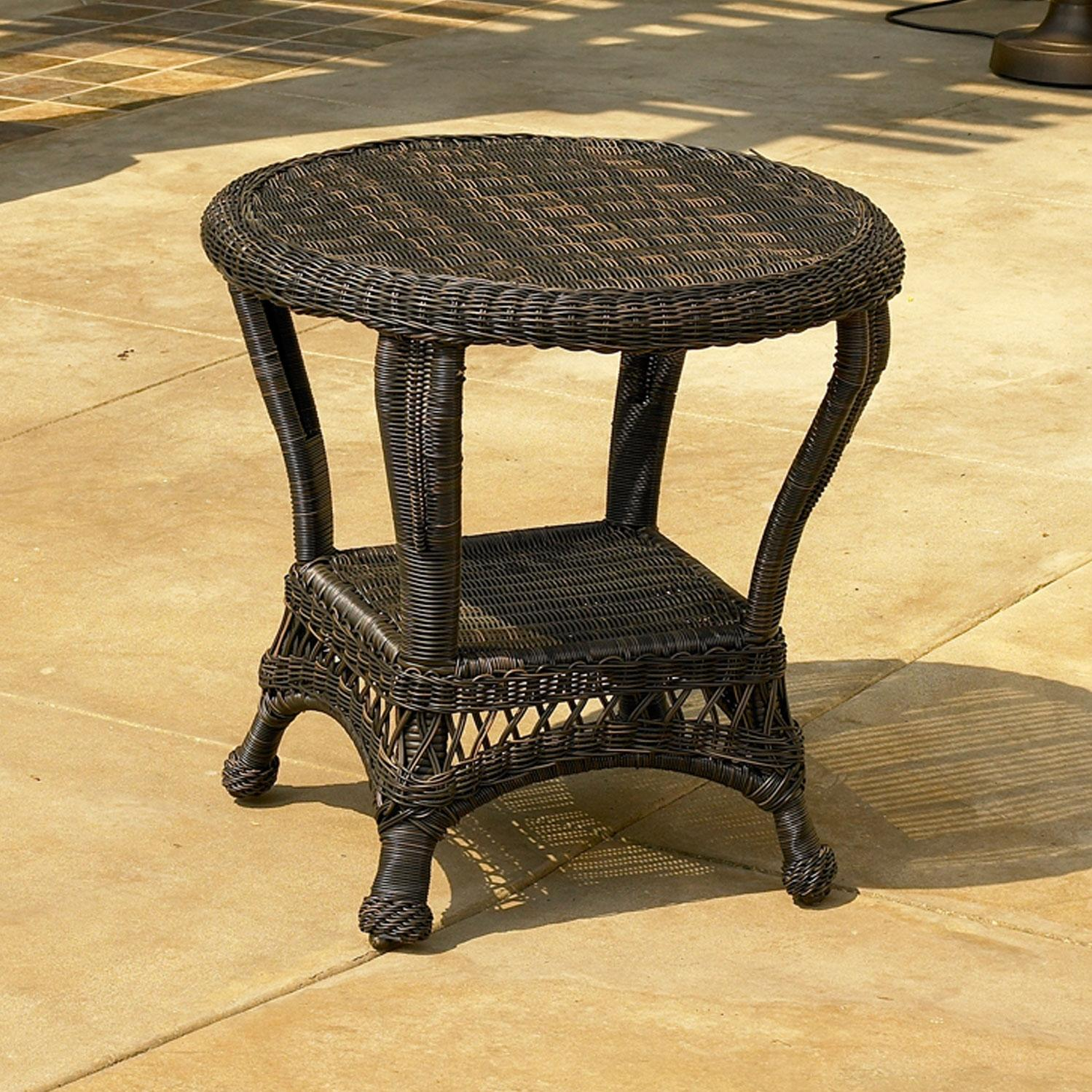 North Cape Port Royal Wicker End Table - Espresso