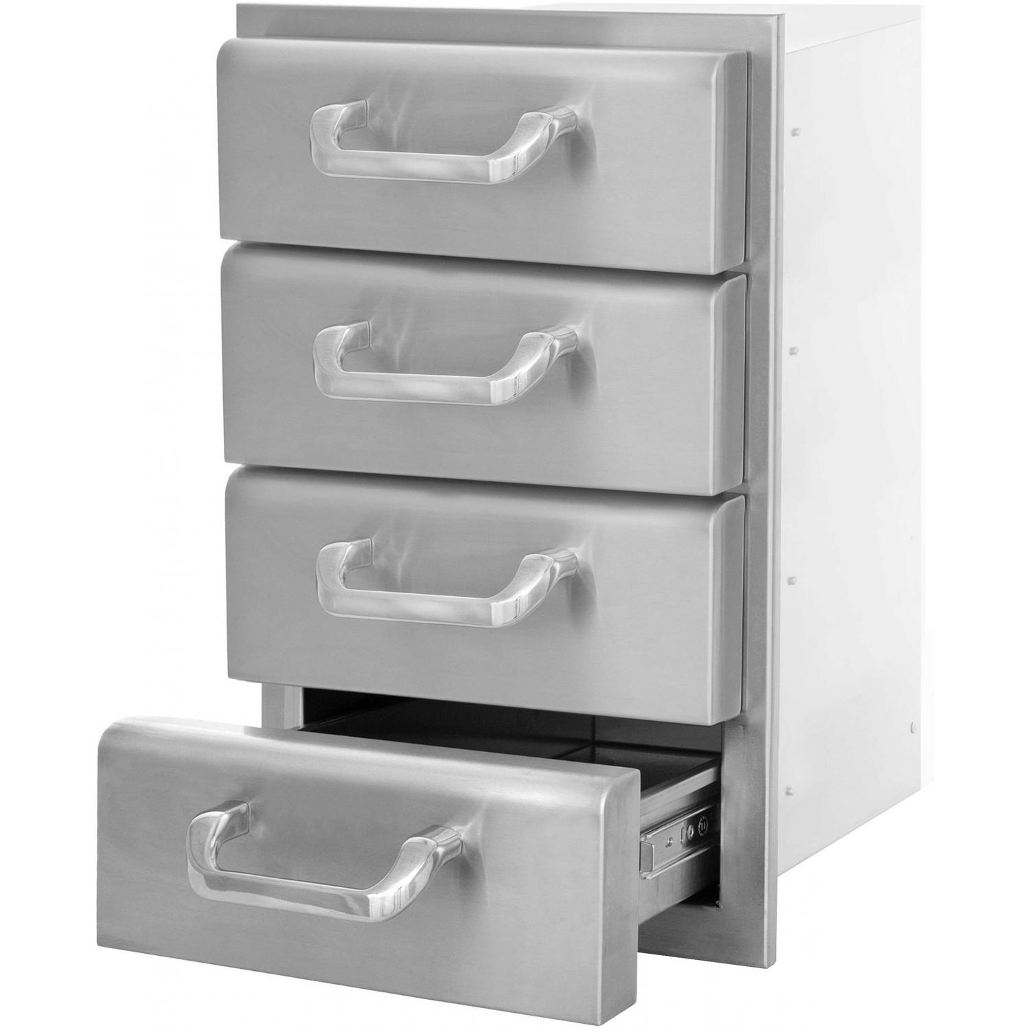 Picture of BBQGuys.com Kingston Raised Series 14 Inch Stainless Steel Quadruple Access Drawer