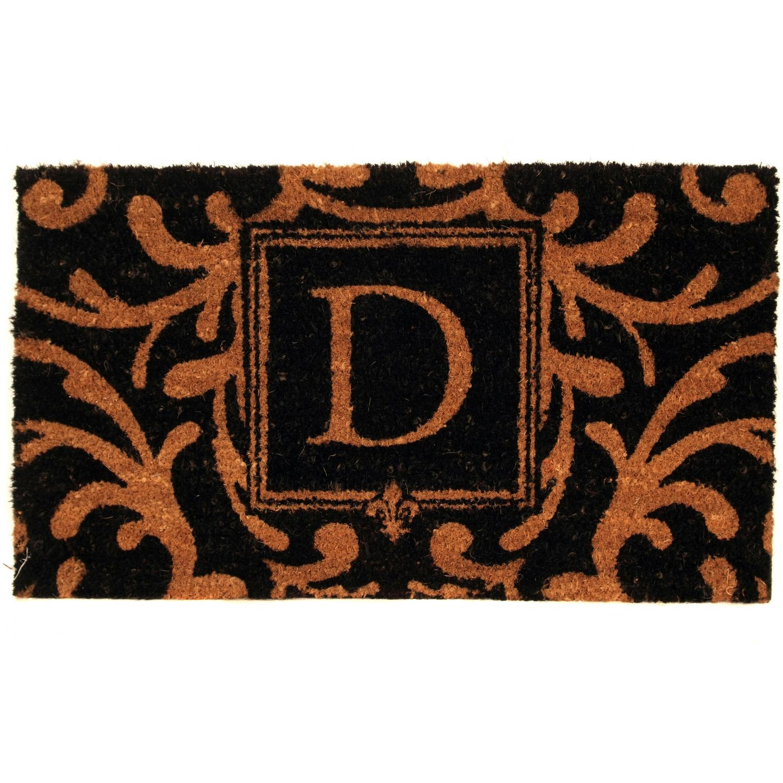 Evergreen Classic Block Monogram Coir Door Mat - Letter D