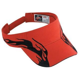 Otto Cap Flame Pattern Brushed Cotton Twill Sandwich Bill Sun Visor - Red/Black