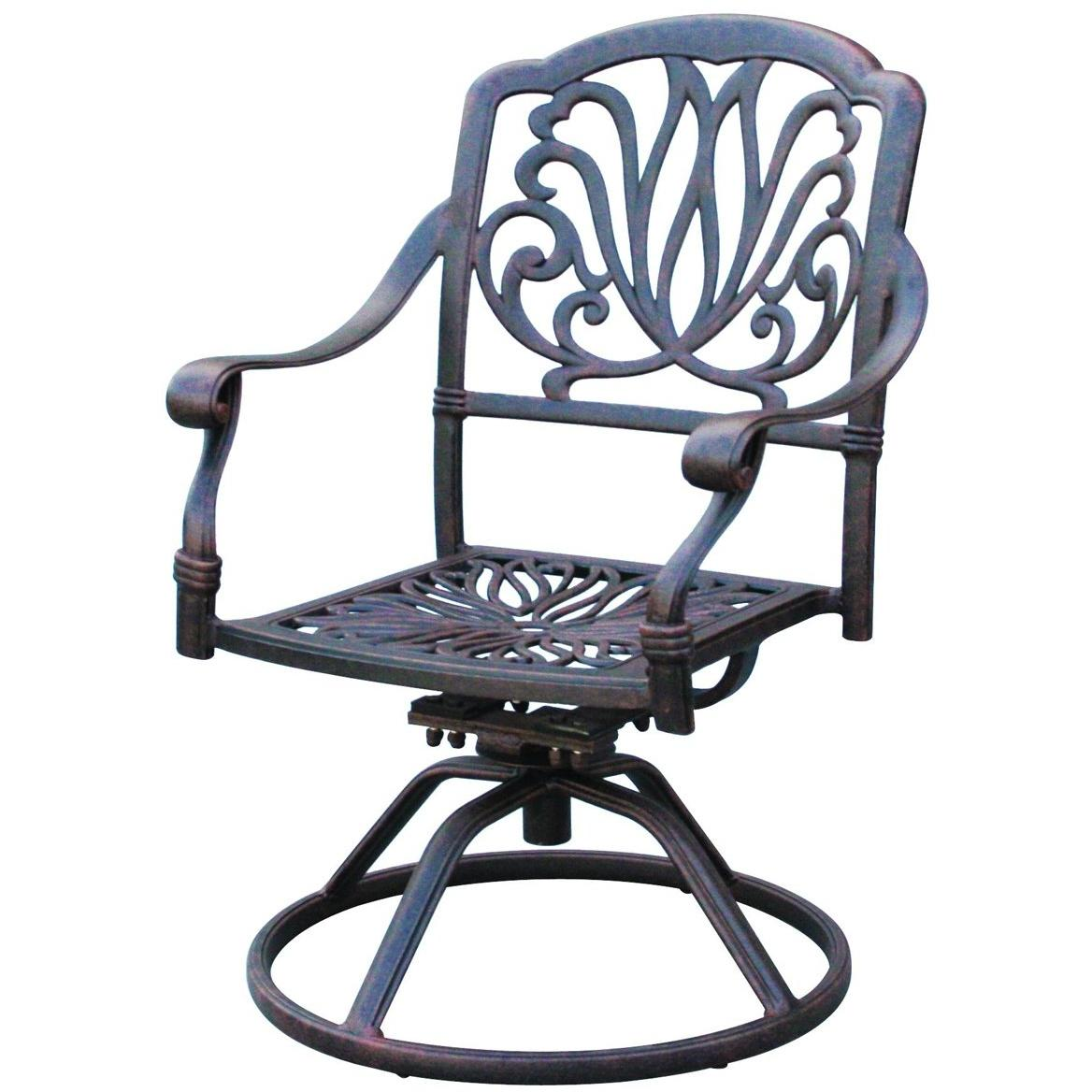 Darlee Elisabeth Cast Aluminum Outdoor Patio Swivel Rocker Chair With Cushion - Antique Bronze