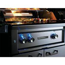 Lynx Sedona 30-Inch Built-In Natural Gas Grill With One Infrared ProSear Burner And Rotisserie - L500PSR-NG Sedona By Lynx 30 Inch Built-In Grill Control Knobs Illuminated With Blue LEDs