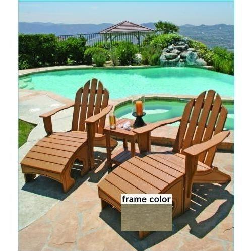 Eagle One Recycled Plastic Adirondack Chair, Foot Stool And Lexington End Table - Driftwood