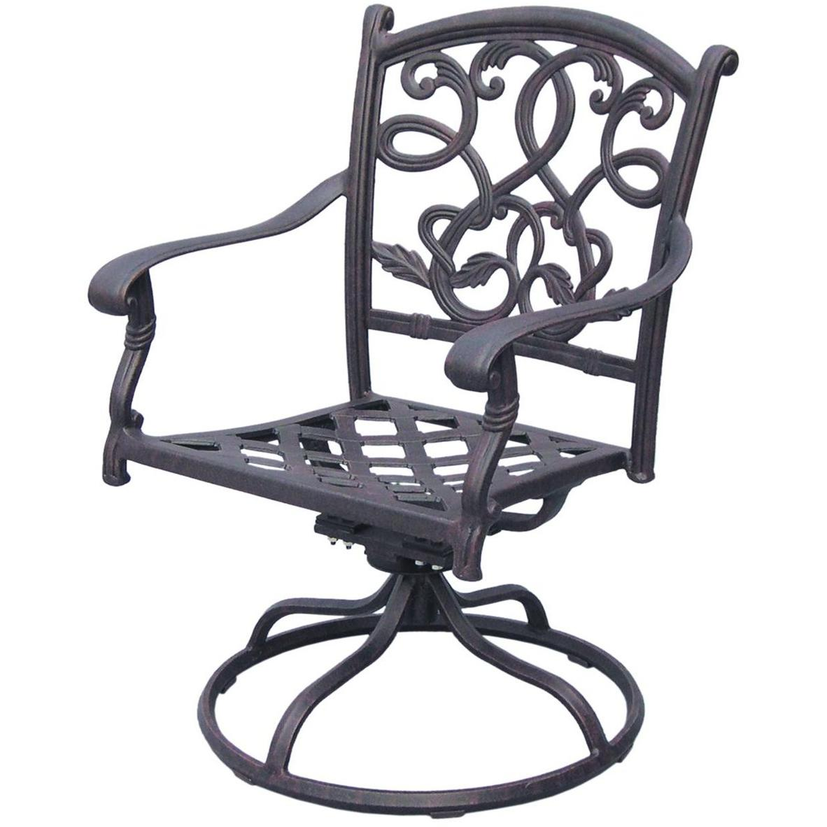 Darlee Santa Monica Cast Aluminum Outdoor Patio Swivel Rocker Chair With Cushion - Antique Bronze