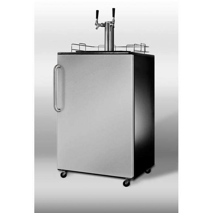 Summit SBC490SSTBTWIN Beer Dispenser - Stainless Steel Door / Black Cabinet