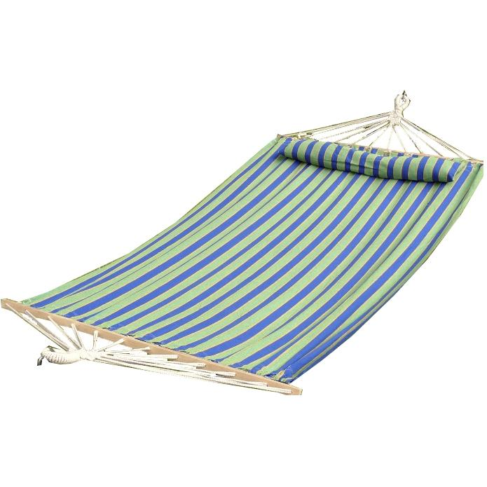 Bliss Hammocks Oversized Hammock With Spreader Bars & Pillow - Green/Blue/Yellow Stripe