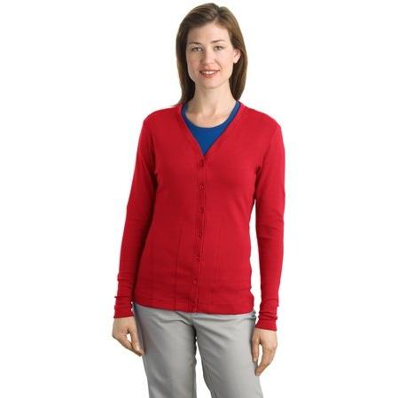 Port Authority Ladies Modern Stretch Cotton Cardigan 3XL - Scarlet Red