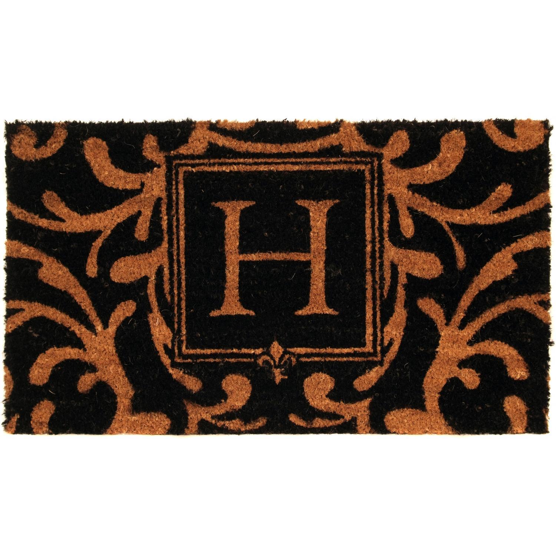 Evergreen Classic Block Monogram Coir Door Mat - Letter H
