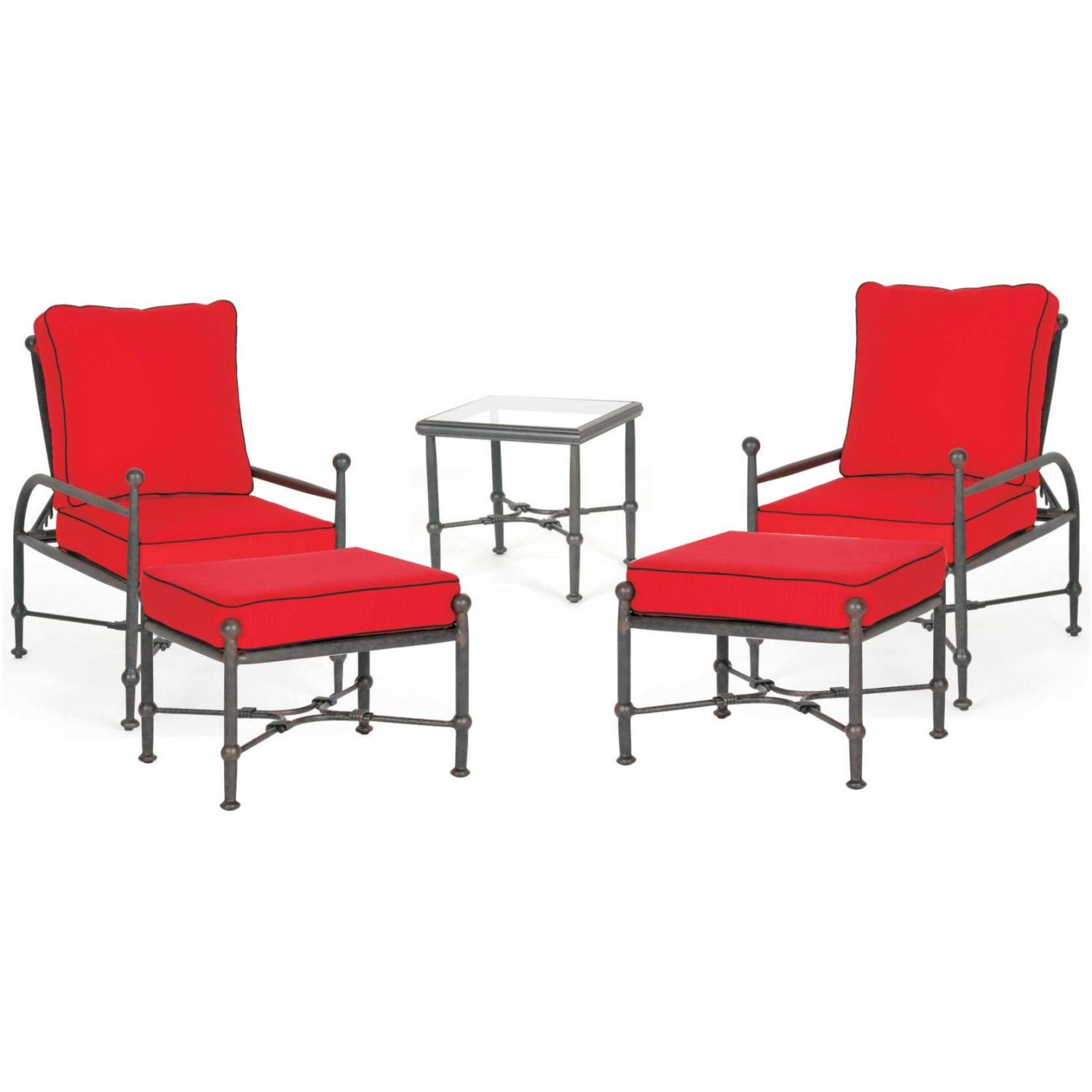 Caluco Origin Aluminum Adjustable Chair Lounge Set With Ottomans