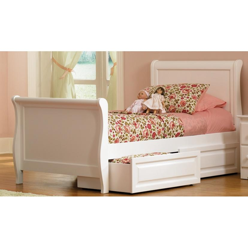 Atlantic Furniture 1082230 Sleigh Bed Twin Matching Footboard Style White