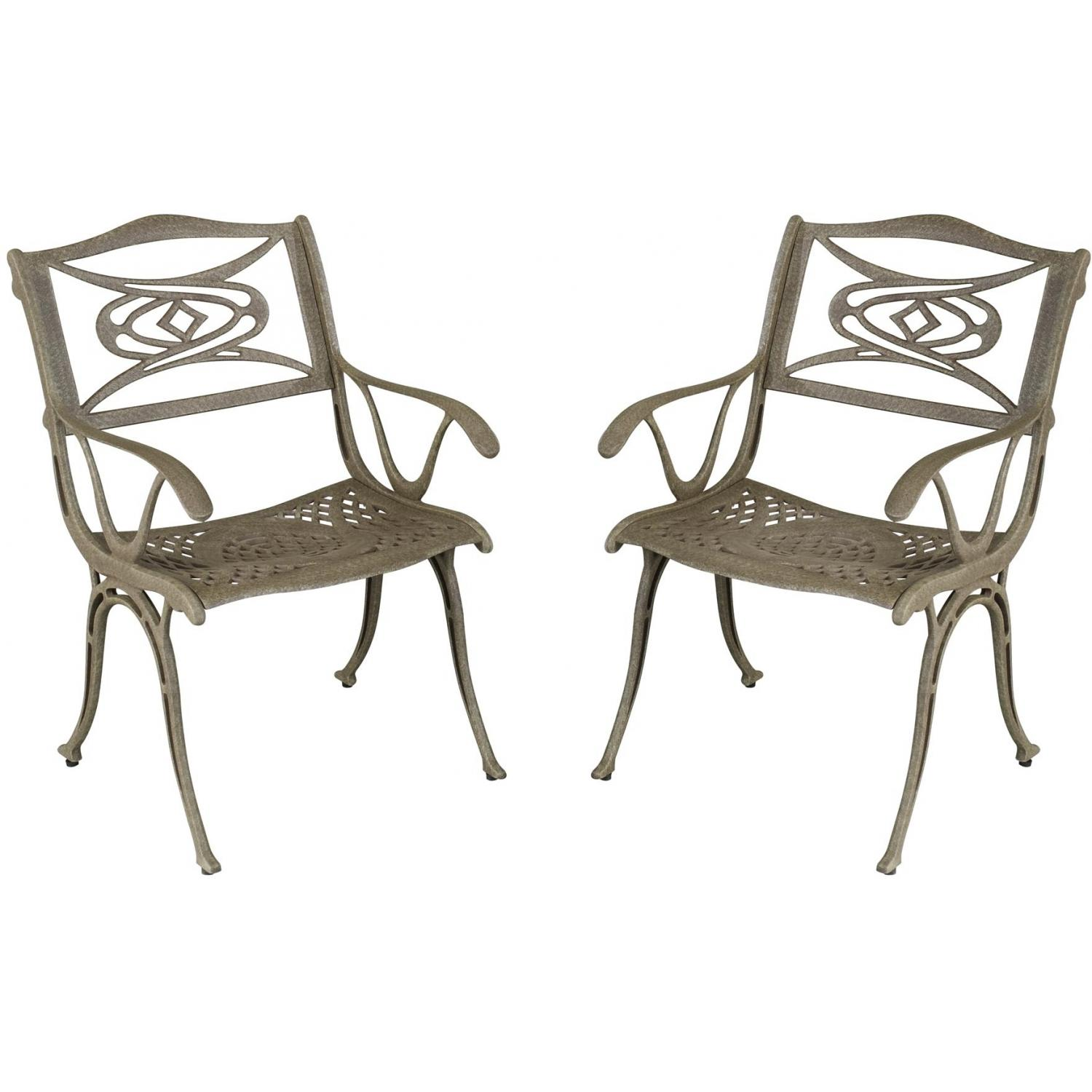 Home Styles Malibu Outdoor Patio Dining Chair - Set Of 2 - Taupe Antique Finish