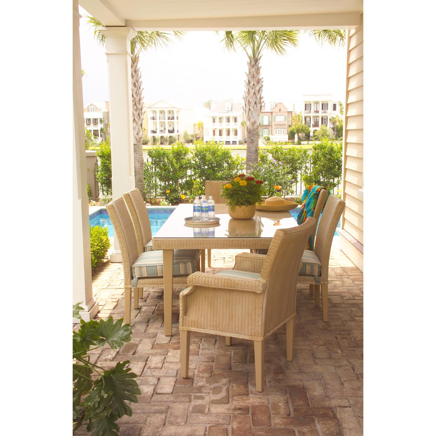 Lloyd Flanders Hamptons Lloyd Loom Wicker Outdoor Patio Dining Set - Antique Khaki Finish