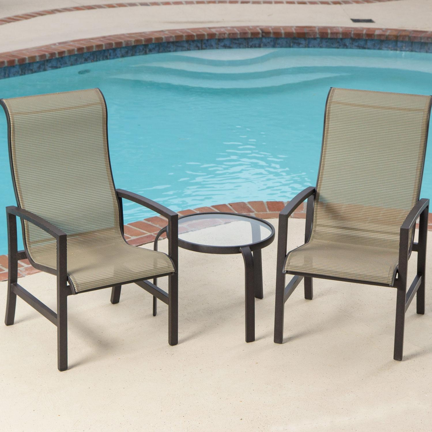 Picture of Acadia 2-Person Sling Patio Bistro Set With Glass Table By Lakeview Outdoor Designs