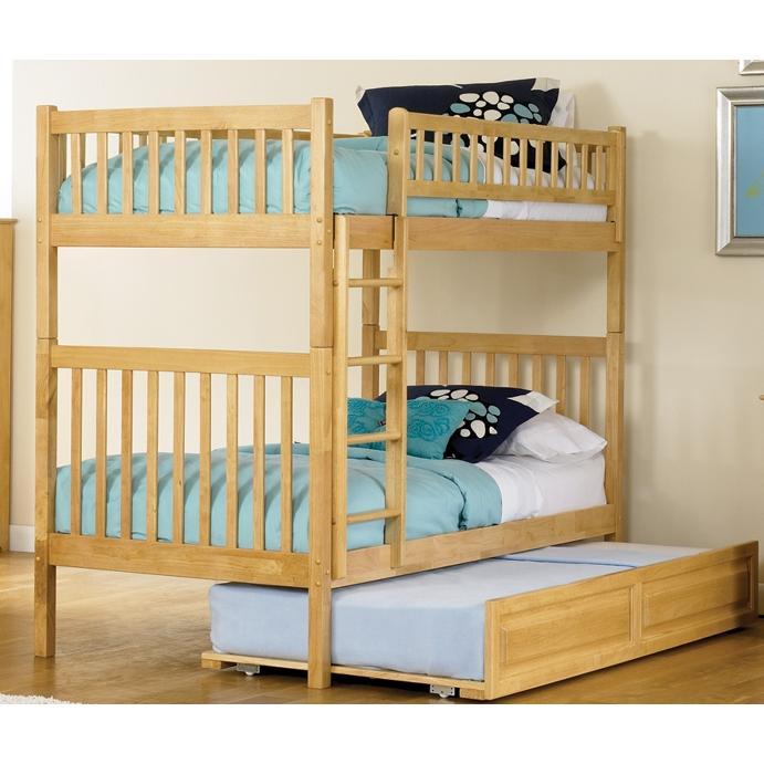 Atlantic Furniture 2000505 Arizona Twin / Twin Bunk Beds Natural Maple W/ Trundle