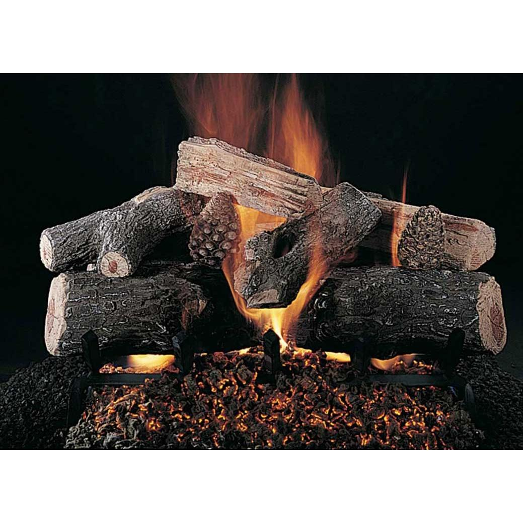 Rasmussen 30 Inch Evening Lone Star Gas Log Set With Vented Natural Gas ANSI Certified Flaming Ember Burner - Remote Ready Safety Pilot
