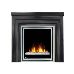 Napoleon EFMM30GK Electric Fireplace With Glass Crystaline Ember Bed / Metro Mantel - Black