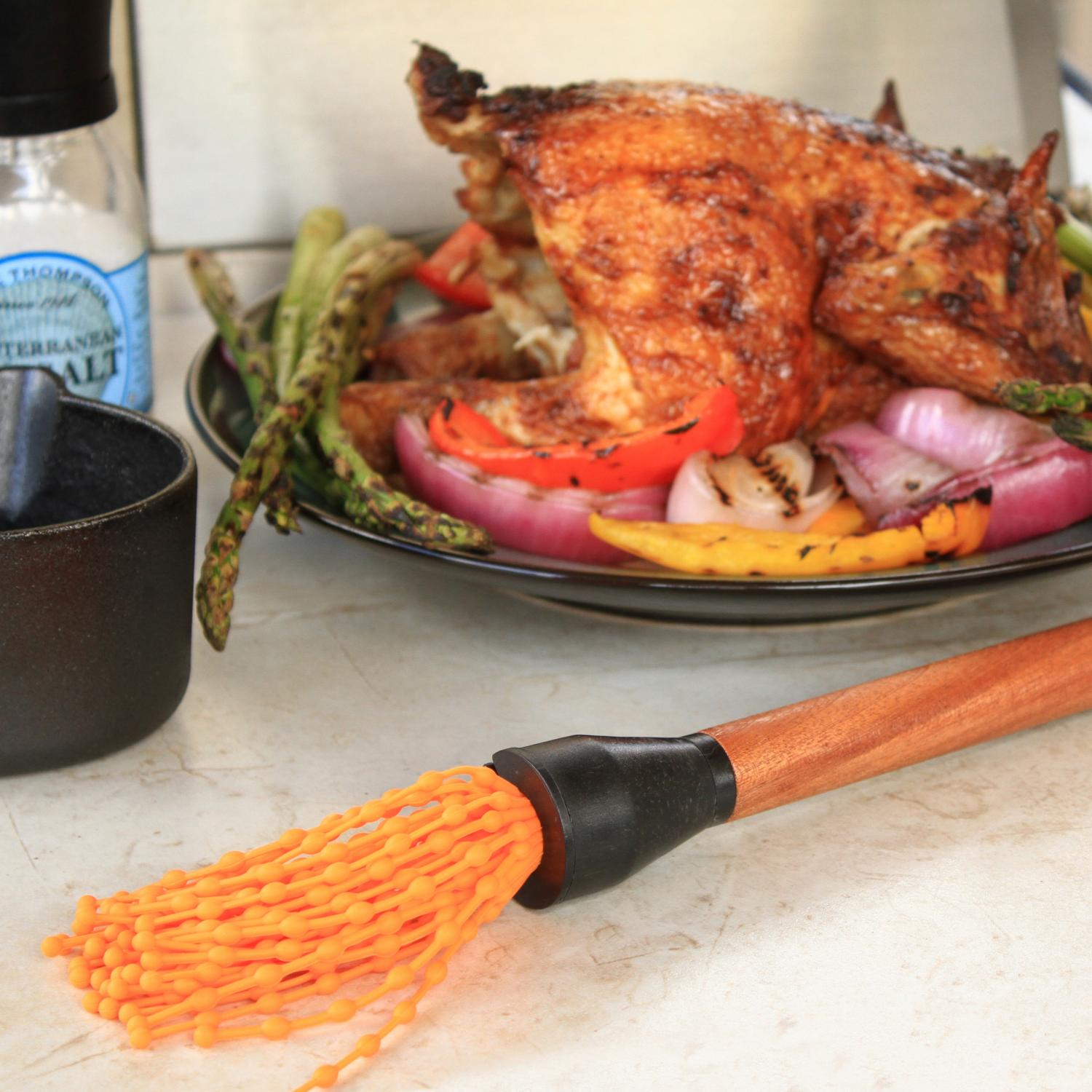 Picture of Outset Rosewood Silicone BBQ Basting Mop With Removable Twist-off Head