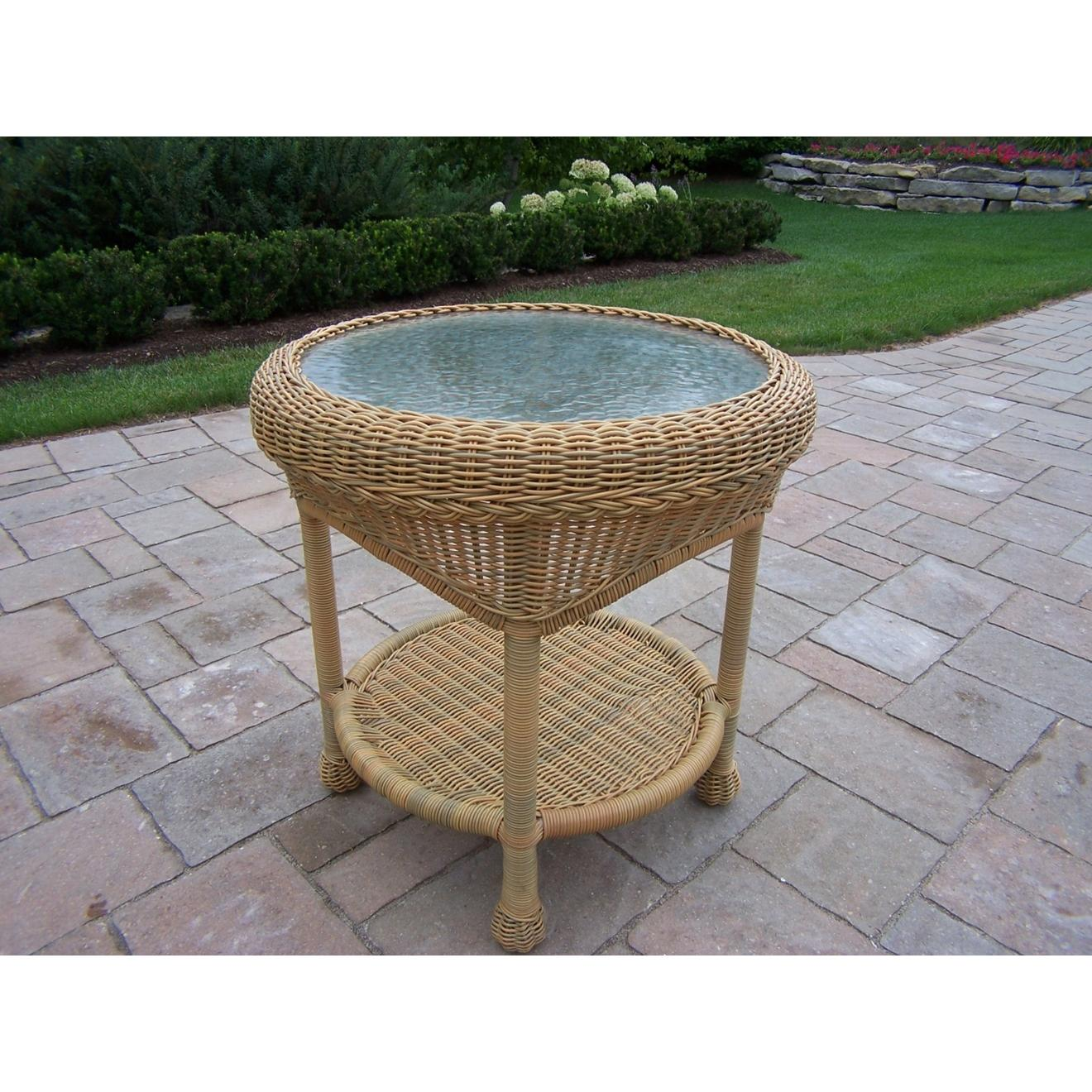 Oakland Living Resin Wicker End Table - Honey