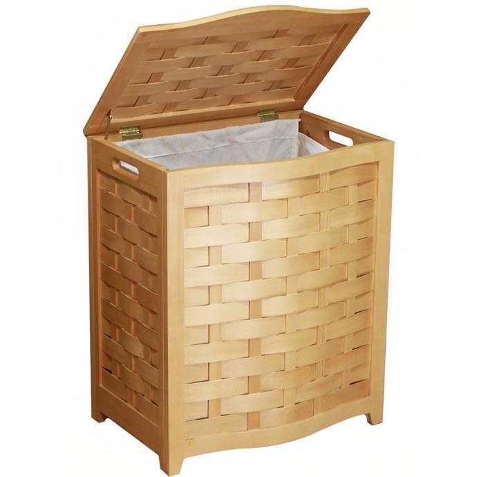 Oceanstar Laundry Hamper In Natural Finished Veneer Wood With Interior Bag - BHV0100N
