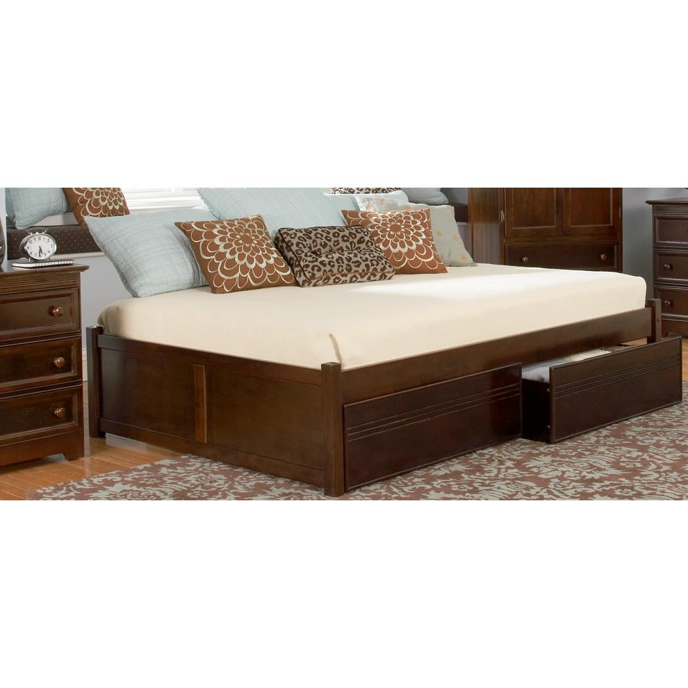 Atlantic Furniture 1002440 Concord Twin Bed With 2 Flat Panel Footboards Antique Walnut