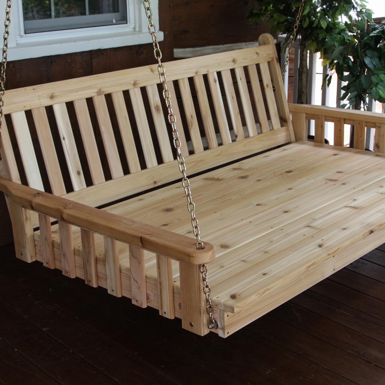 Picture of A&L Furniture Fanback 4 Foot Cedar Outdoor Swing Bed - Stained