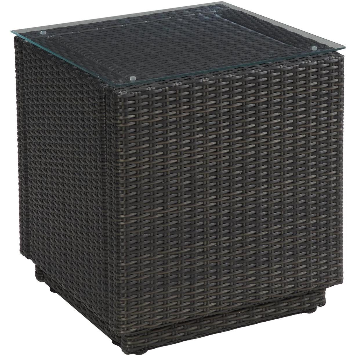 Home Styles Riviera Resin Wicker Outdoor Patio End Table With Glass Top - Brown