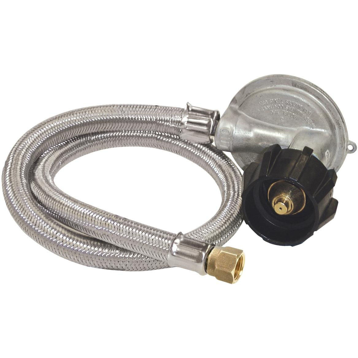 Bayou Classic 36 Inch Pressure Stainless Braided Hose With Low Pressure Regulator