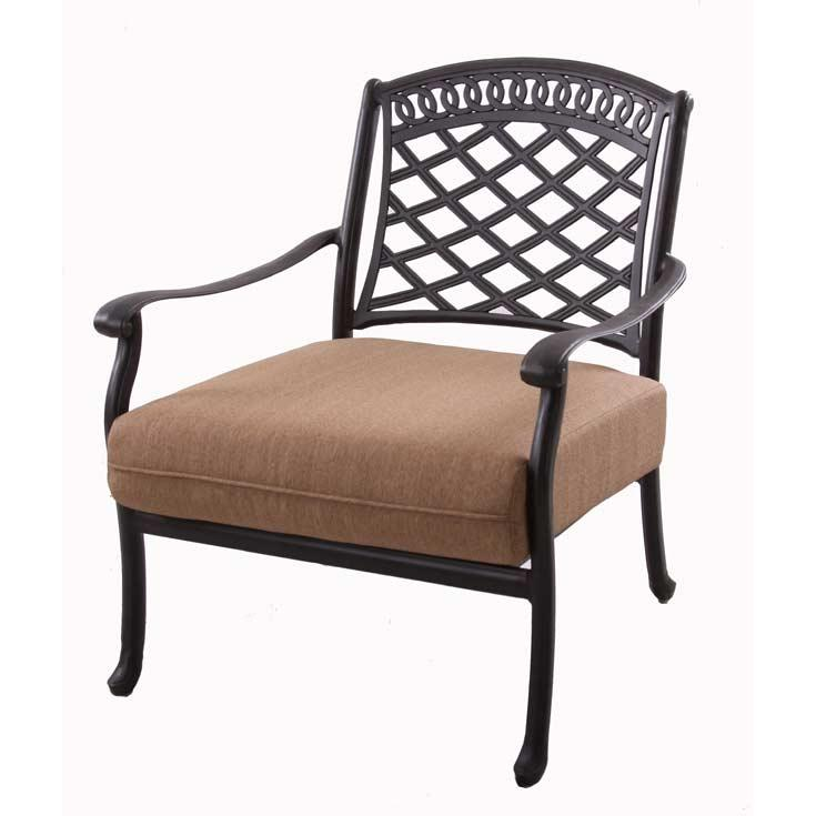 Darlee Sedona Cast Aluminum Deep Seating Outdoor Patio Club Chair With Sesame Cushions - Mocha