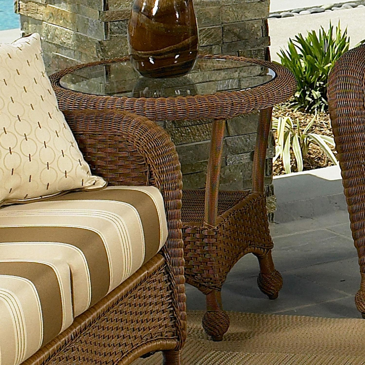 North Cape Montclair End Table W/ Glass Top - Cedar