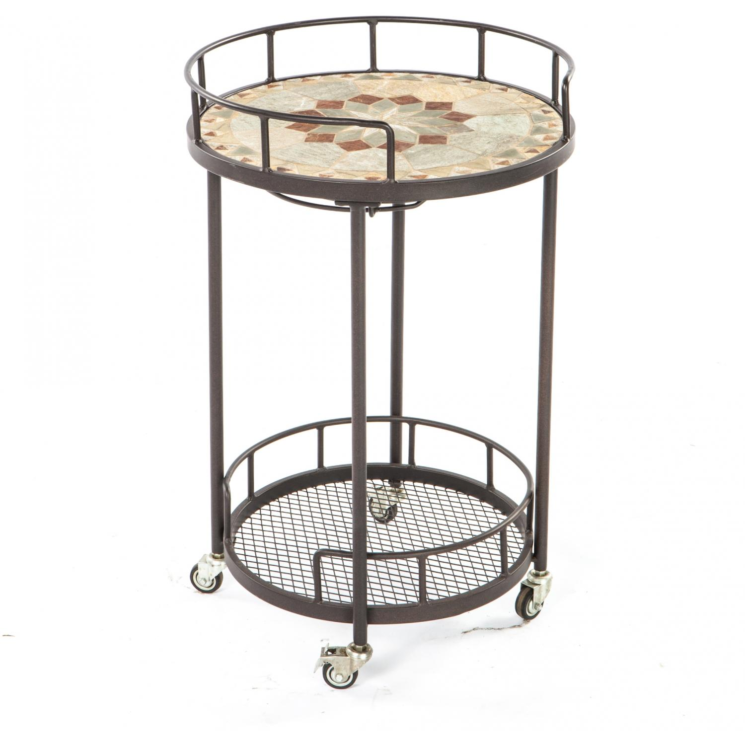 Picture of Alfresco Home Notre Dame Mosaic Outdoor Serving Cart