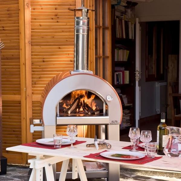 Picture of Alfa Forno 5 Minuti Wood Burning Pizza Oven On Cart - Orange