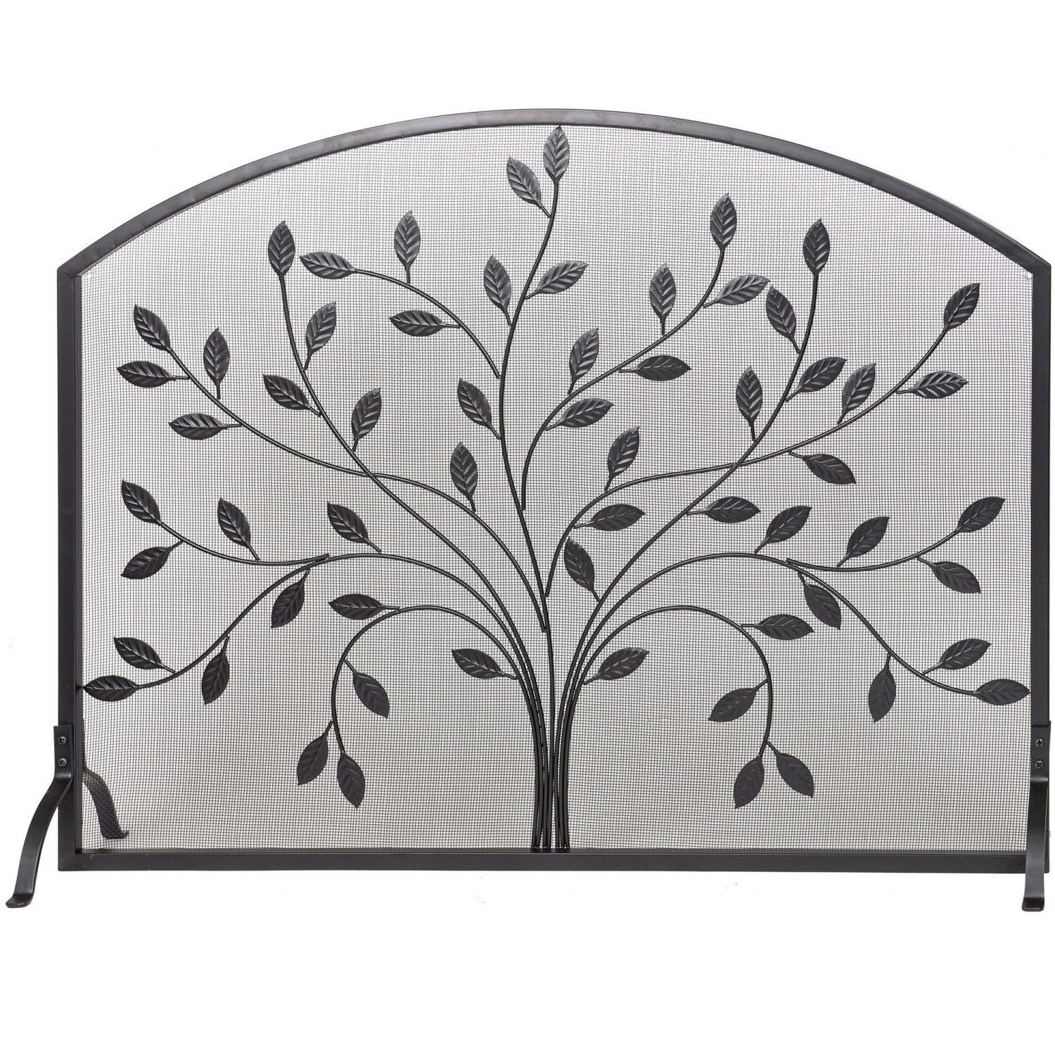 Picture of Alpine Flame 44-Inch Black Wrought Iron Fireplace Screen Panel With Leaf Design