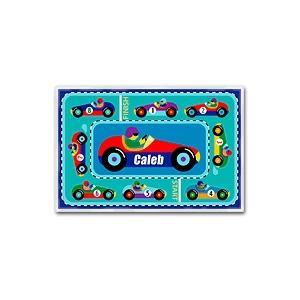 Olive Kids Personalized Laminate Placemat - Vroom! Racetrack