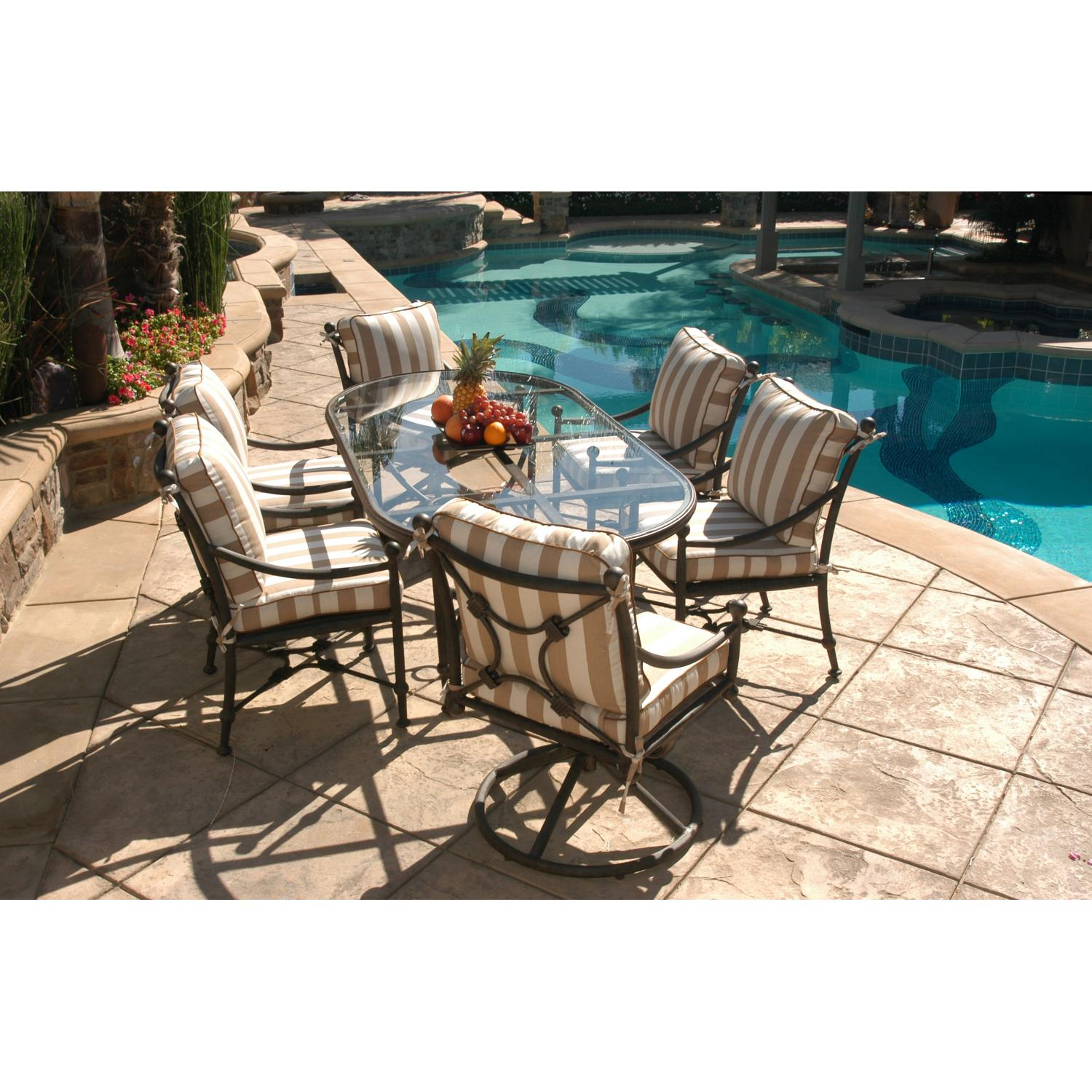 Caluco Origin 84 Inch Oval Dining Set With Swivels Chairs