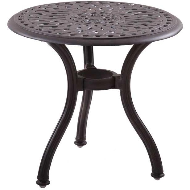 Darlee Series 60 Cast Aluminum Round Outdoor Patio End Table - 22 Inch - Mocha