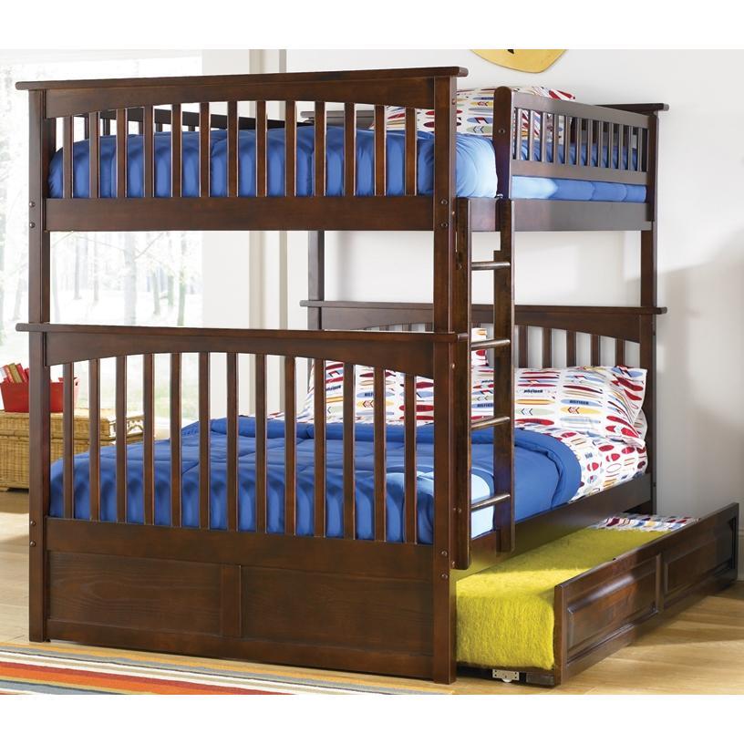 Atlantic Furniture 2021405 Columbia Twin / Full Bed Antique Walnut W/ Trundle
