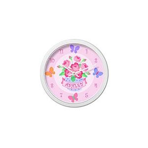 Olive Kids Personalized Wall Clock - Blossoms White Frame