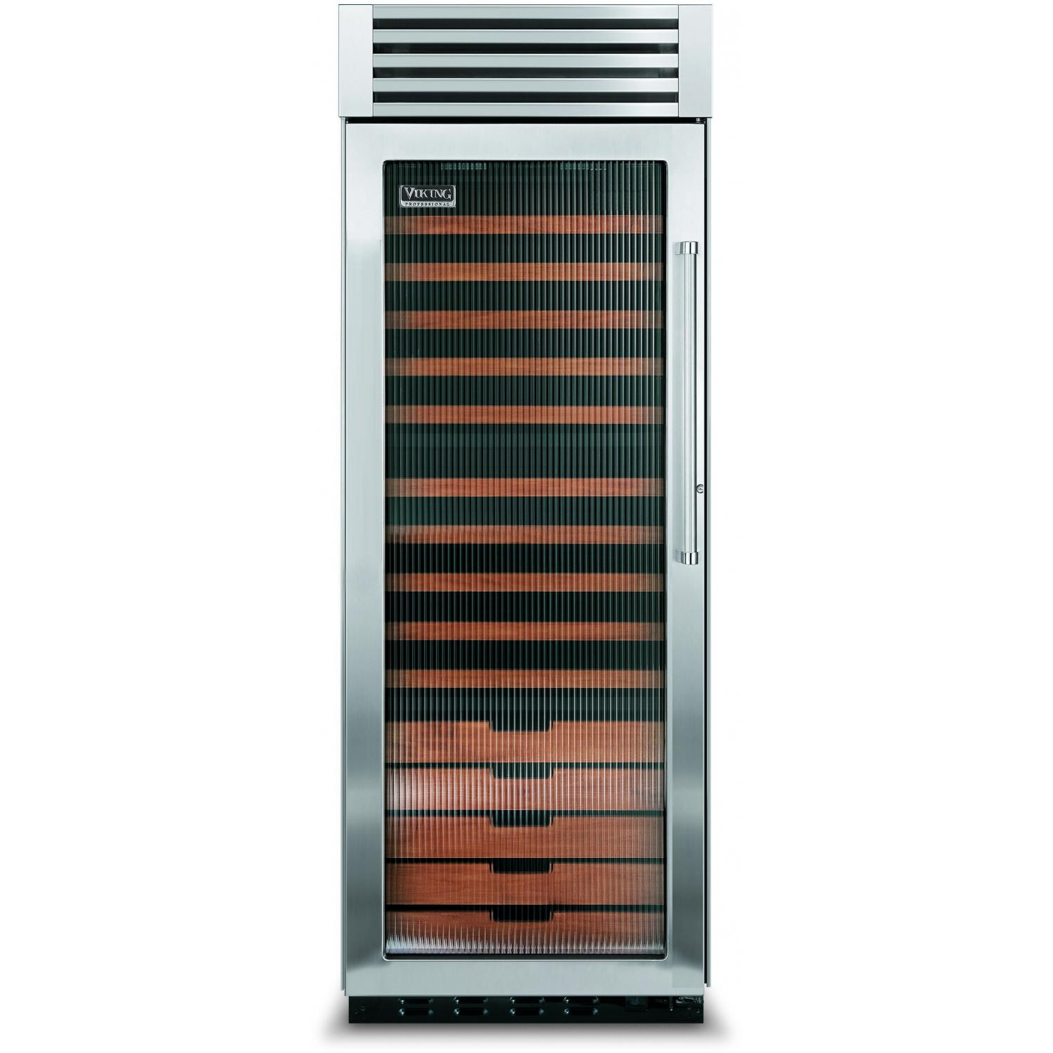Viking VCWB300FL 150 Bottle Professional Series Built In Triple Zone Left Hinge Beverage Cooler - Fluted Glass Door