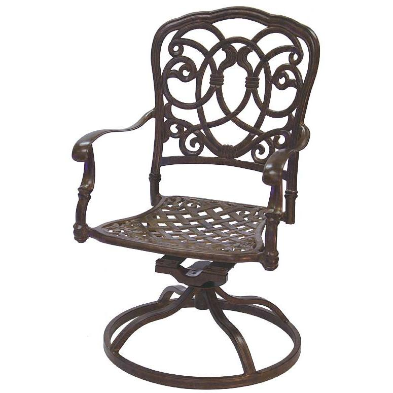 Darlee Florence Cast Aluminum Outdoor Patio Swivel Rocker - Mocha